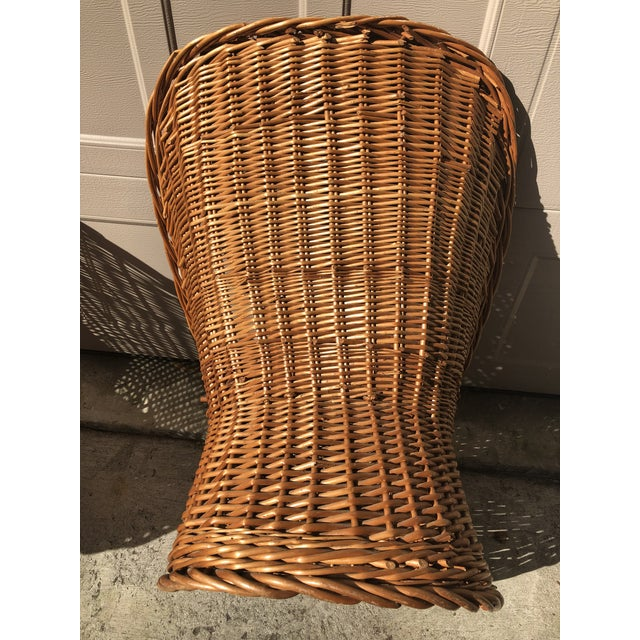 1960's Vintage Wicker Scoop Chairs & Cushions - A Pair For Sale - Image 4 of 8