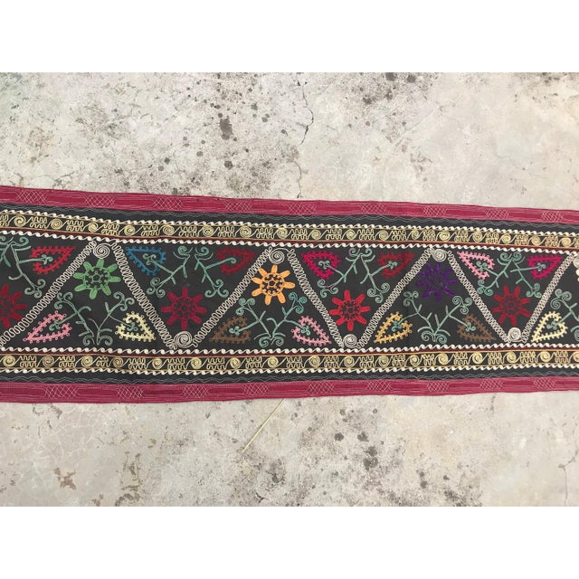 Black 1968 Antique Suzani Wall Hanging For Sale - Image 8 of 9