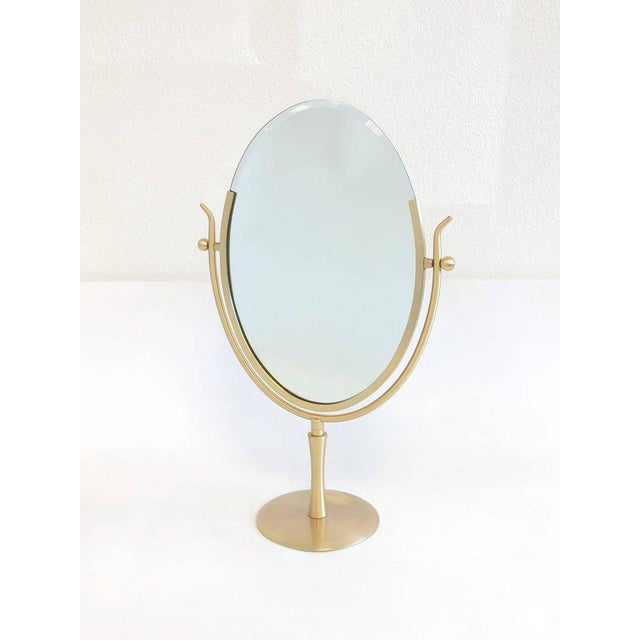 Brass Satin Brass and Leather Vanity Mirror by Charles Hollis Jones For Sale - Image 7 of 11