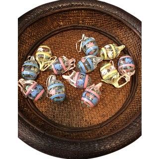 Handmade Glass Egg Shaped Ornaments, 12/Set For Sale