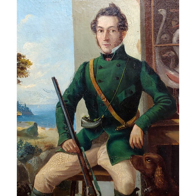 Portrait of a Hunter W/His Dog-19th Century Italian School-Oil Painting For Sale - Image 4 of 8
