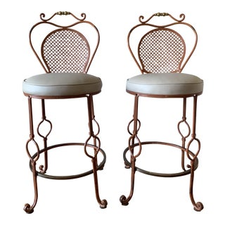 French Wrought Iron Bar Stools - A Pair For Sale