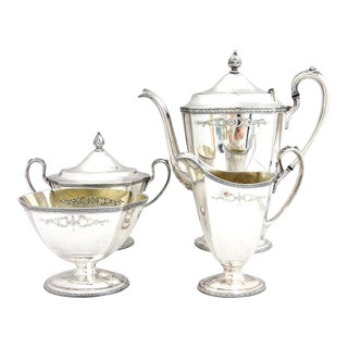 "Homan Federal Style ""Louisiana"" Pedestal Silver Coffee Set - Set of 4 For Sale"