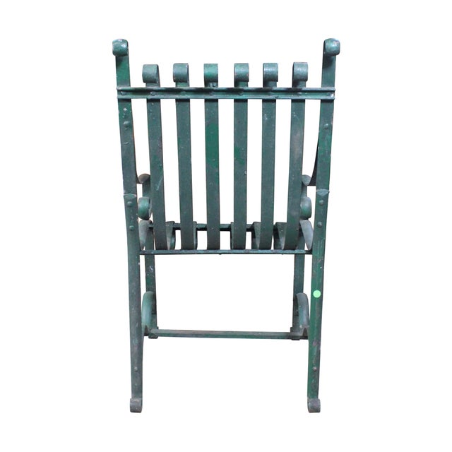 Vintage Green Iron Garden Chair - Image 4 of 4