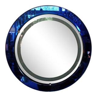 Italian Fontana Arte Style Cobalt Blue Backlit Mirror For Sale