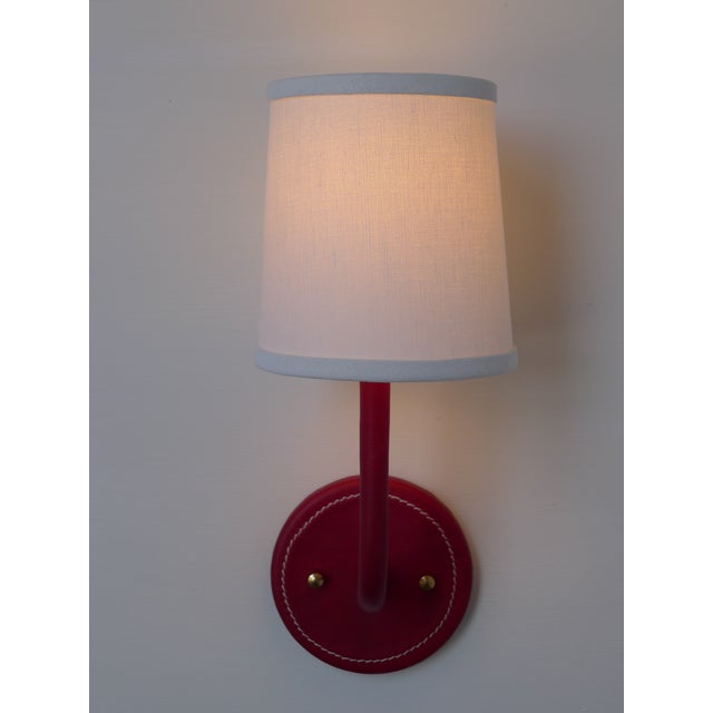 Not Yet Made - Made To Order Paul Marra Top-Stitched Leather Wrapped Sconce in Red For Sale - Image 5 of 7