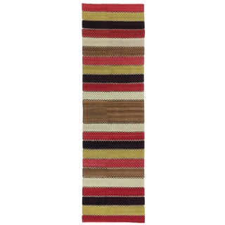 Bold Stripe Vintage Malatya Kilim Rnner For Sale