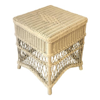 1970s French Country White Wicker/Rattan Nantucket Style Table For Sale