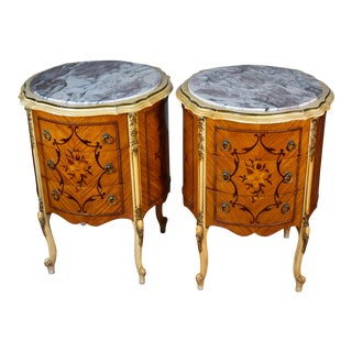 1920s French Louis XV Walnut & Satinwood Hand-Painted Marble Top Nightstands - a Pair For Sale