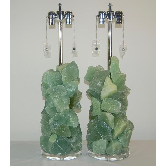 Rock Candy glass table lamps by Swank Lighting! Elegant crystal cluster lamps in SEA FOAM GREEN made of tumbled recycled...