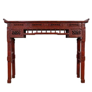 Chinese Antique Carved Red Lacquered Altar Table/Console Table For Sale