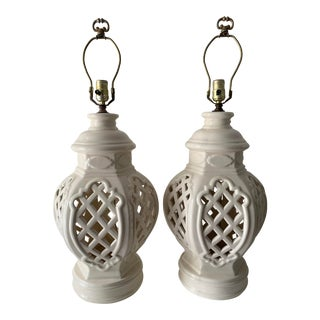 Vintage Chinoiserie Ginger Jar Lamps - a Pair For Sale