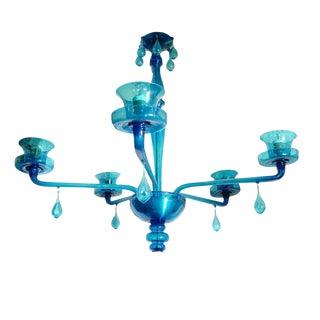 C. 1920s Blue Glass Venini Chandelier For Sale