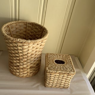 Natural Rope & Wood Tissue Box & Wastebasket Preview