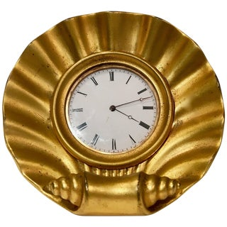 Century French Gilt Bronze Desk Clock, Circa 1940 For Sale