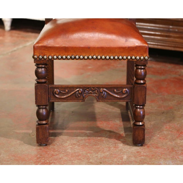 Metal 19th Century French Carved Oak and Tan Leather Dining Chairs - Set of Six For Sale - Image 7 of 13