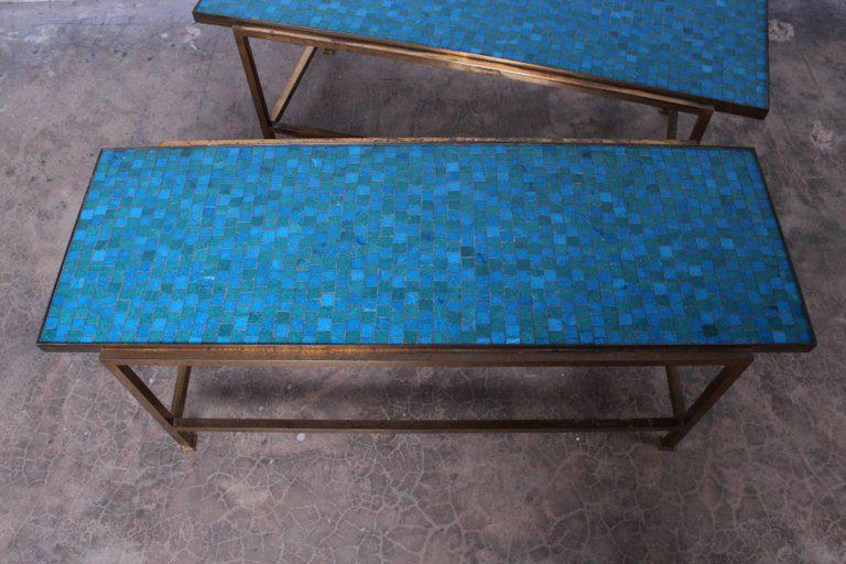 Pair Of Murano Glass Tile Tables By Edward Wormley For Dunbar   Image 7 Of  10