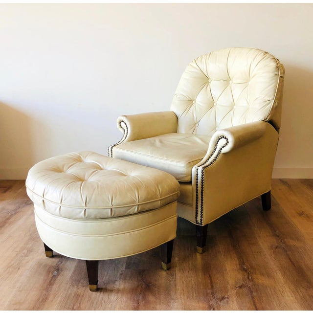 Boho Chic Vintage Distressed Leather Tufted Chair With Ottoman For Sale - Image 3 of 13