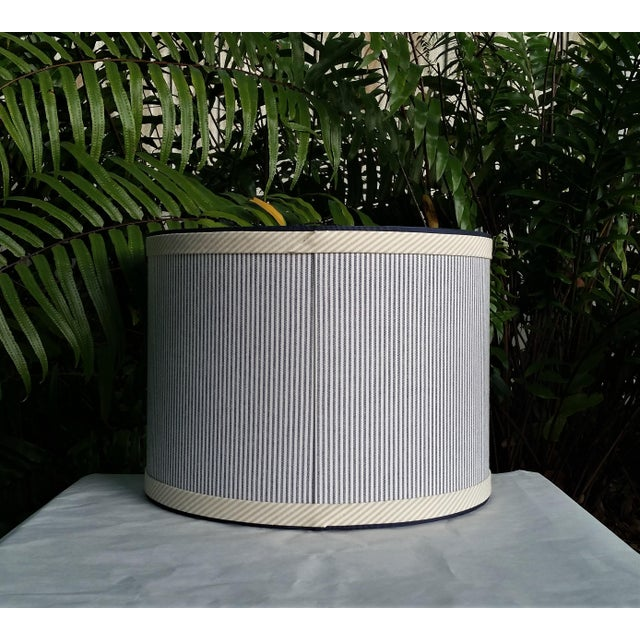 Metal Blue and White Stripe Cotton Off White Trim Coastal Drum Lampshade For Sale - Image 7 of 9