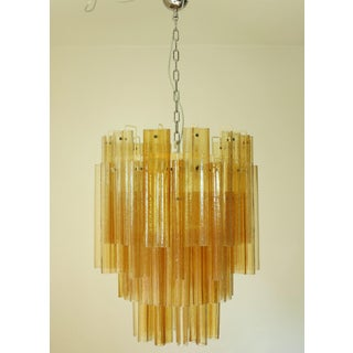1960s Amber Murano Venini Tubes Tiered Chandelier Preview