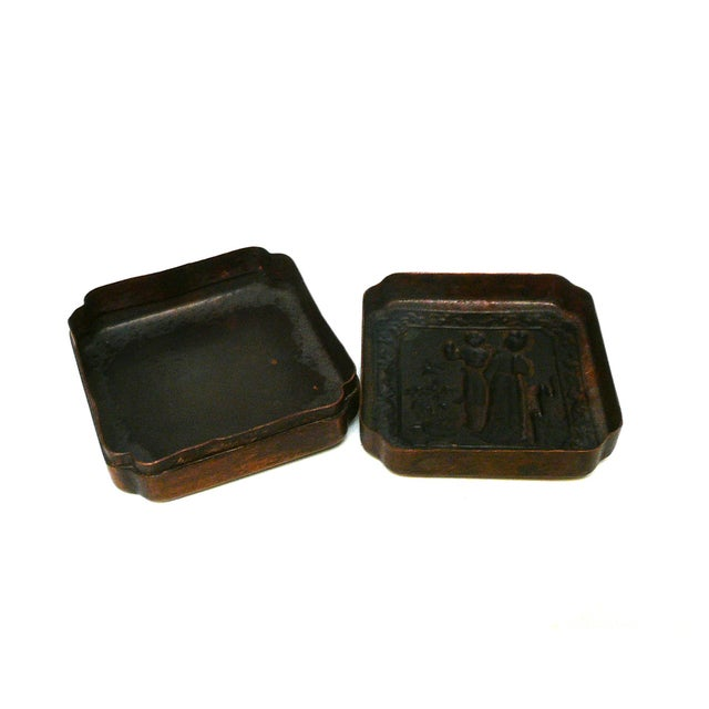 Asian Chinese Handmade Metal Bronze Color Trinket Box For Sale - Image 3 of 5