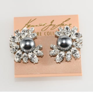 Kenneth Jay Lane for Tory Burch Faux Pearls Rhinestones Earrings Preview