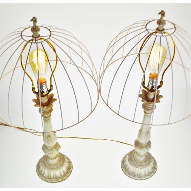 White Vintage Metal Candlestick Table Lamps With Metal Cage lamp shades - a Pair For Sale - Image 8 of 12