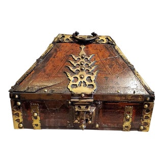 18th Century Brass and Lacquered Teak Dowry Box For Sale