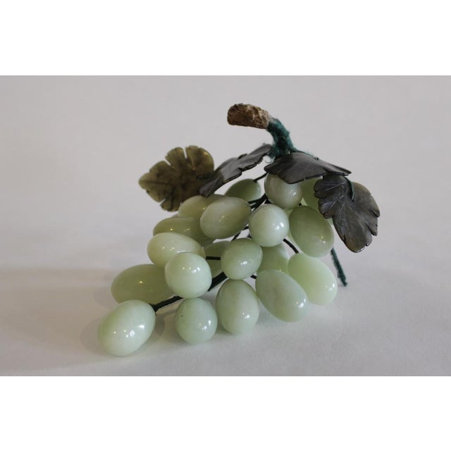 Offered here are a cluster of vintage marble grapes in light green. The marble grapes are attached to a wire base, which...