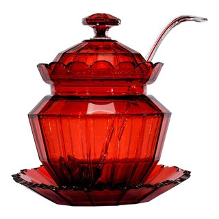 Hand Blown 19th Century Cranberry Crystal Covered Punchbowl on Stand with Matching Ladle For Sale