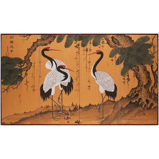 1960s Vintage Asian Three Cranes Screen For Sale
