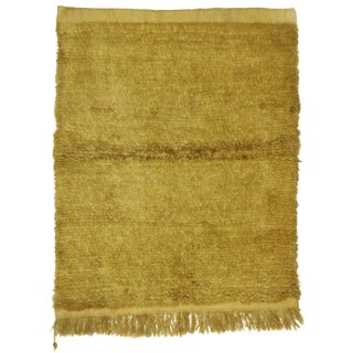 "Mid-Century Modern Vintage Turkish Ocher Color Shag Rug - 4'2"" X 5' For Sale"