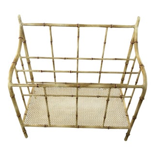 1960s Chippendale Tole Bamboo Magazine Rack For Sale