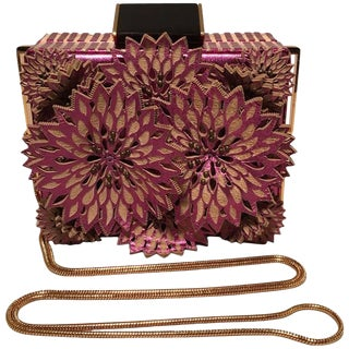 Tonya Hawkes Purple Floral Leather Cut Out Box Evening Shoulder Bag For Sale