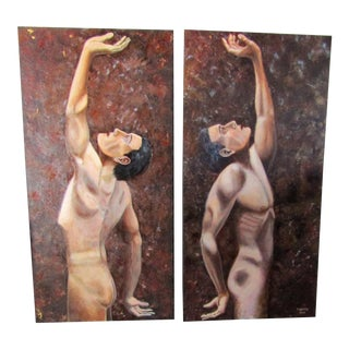 1970s Large Expressive Male Figure Signed Oil Paintings - a Pair For Sale