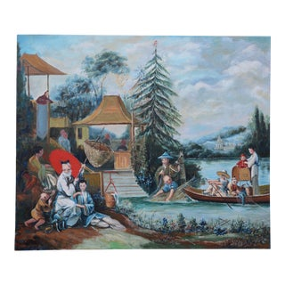 "Vintage 18th Century François Bouche Rococo Style Reproduced Painting on Canvas ""Chinese Fishing Picture"" For Sale"
