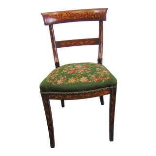 19th C Dutch Marquetry Inlaid Side Chair For Sale