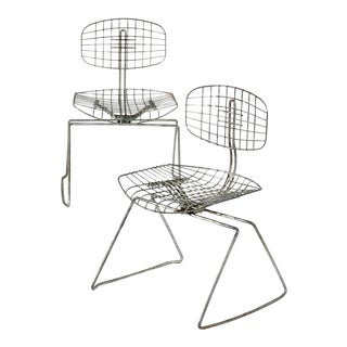 Michel Cadestin for the Pompidou Centre Beaubourg Metal Wire Chairs - a Pair For Sale