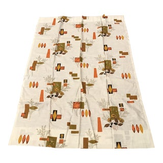 Mid Century Modern Style Patterned Beige Drapes For Sale