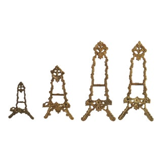 20th Century Traditional Brass Mini Easels - Set of 4 For Sale