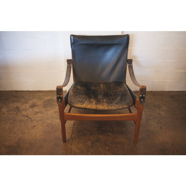 Hans Olsen Black Leather & Wood Safari Chair - Image 2 of 7
