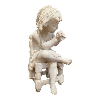 19th Century French Carved Young Girl on Chair Marble Sculpture Composition For Sale