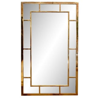 Large Vintage Brass Chinoiserie Style Wall Mirror For Sale