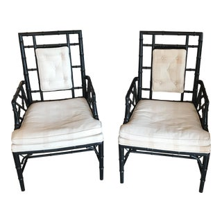 Pair of Faux Bamboo With Cane Armchairs For Sale