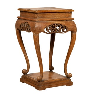 Chinese Ming Style Wooden Incense Stand With Cabriole Legs and Carved Apron For Sale
