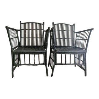 Pair of Vintage Rattan Bamboo Chairs For Sale