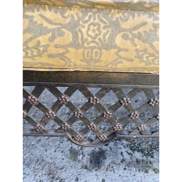 1900 - 1909 Pair Of 1900's French Iron Benches With Trelice Rosette Motif For Sale - Image 5 of 13