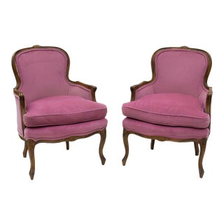 Pair of French Provincial Style Chairs in Lavender Velvet For Sale
