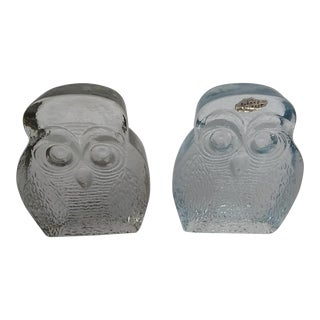 Blenko Mid-Century Modern Owl Glass Bookends - A Pair