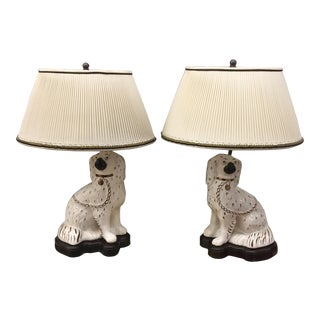 1920s Staffordshire Dog Lamps - a Pair For Sale
